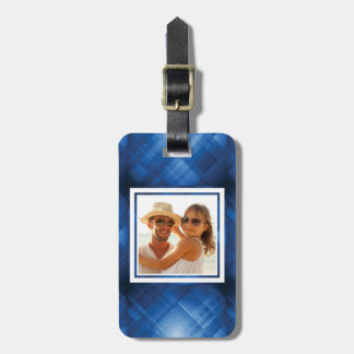Custom Photo Dark blue hi-tech background Luggage Tag