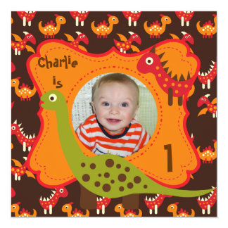 "Custom Photo Dinosaur Party Invitations 5.25"" Square Invitation Card"