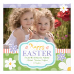 Custom Photo Easter Card Flowers and Polkadots Personalized Announcement