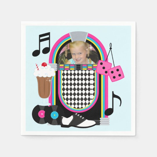 Custom Photo Fabulous 50s Birthday Paper Napkins