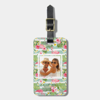 Custom Photo Flamingos And Stripes Luggage Tag