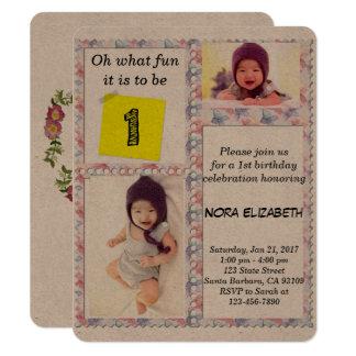 Custom Photo Floral Frame 1st Birthday Invitation