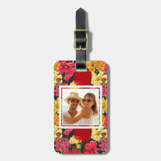 Custom Photo Floral wallpaper in watercolor style Luggage Tag