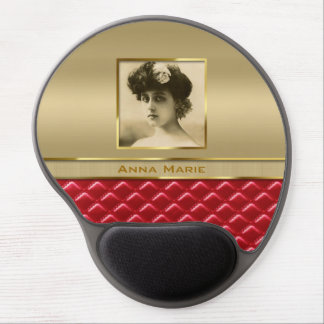 Custom Photo Frame Faux Gold Quilted Red Leather Gel Mouse Mat