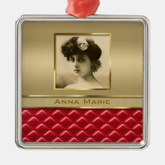 Custom Photo Frame Faux Gold Quilted Red Leather Silver-Colored Square Decoration