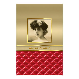 Custom Photo Frame Faux Gold Quilted Red Leather Stationery Design