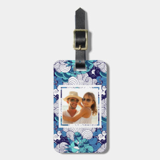Custom Photo Funky Seashell Pattern Luggage Tag