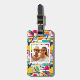 Custom Photo Geometric Tropical Birds Luggage Tag