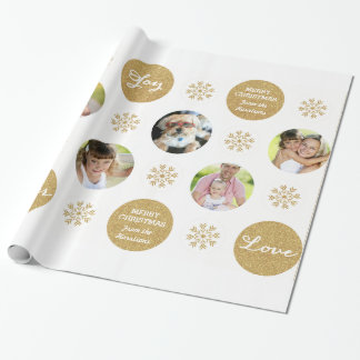 Custom Photo Gold Glitter Look Gift Wrap Wrapping Paper