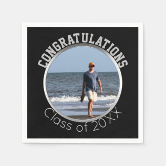 Custom Photo Graduation | Black & Silver Disposable Napkin