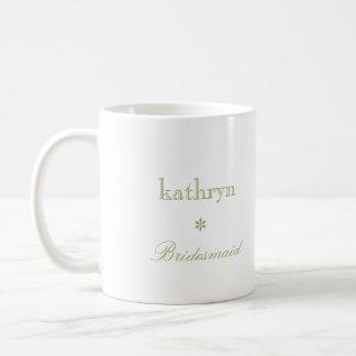Custom photo green argyle preppy bridesmaid coffee basic white mug