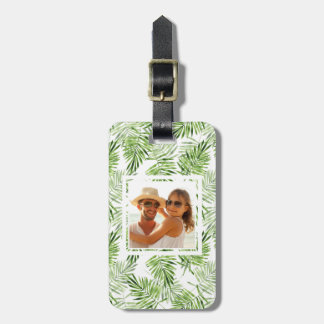 Custom Photo Green Palm Leaves Luggage Tag