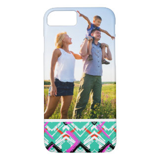 Custom Photo Hand Drawn Teal Zig Zag Pattern iPhone 8/7 Case