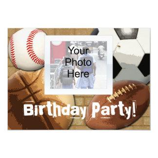 "Custom Photo Invitation, Sports Theme Birthday or 5"" X 7"" Invitation Card"