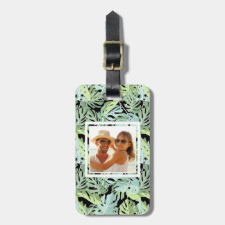 Custom Photo Jungle Floral Pattern Luggage Tag