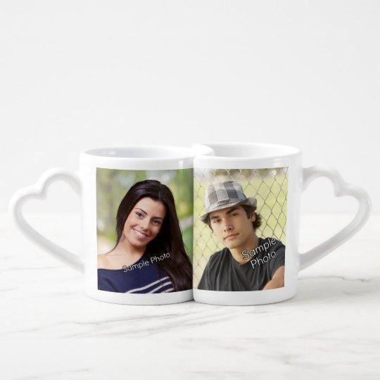 Custom Photo Keepsake His/Hers Heart Coffee Mug Set