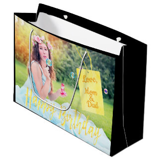 Custom photo large gift bag black with name tag