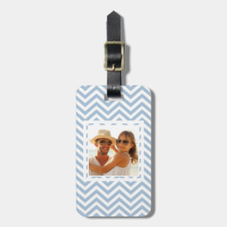 Custom Photo Light Blue Grunge Textured Chevron Luggage Tag