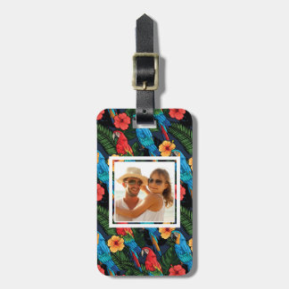 Custom Photo Macaw And Hibiscus Pattern Luggage Tag