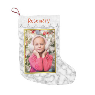 Custom Photo | Marble and Gold with Easy Template Small Christmas Stocking