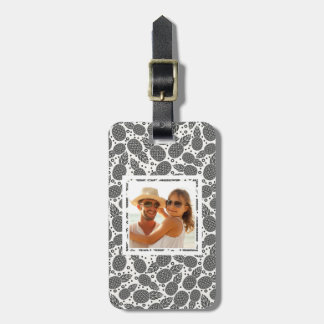 Custom Photo Monochrome Pineapples Luggage Tag