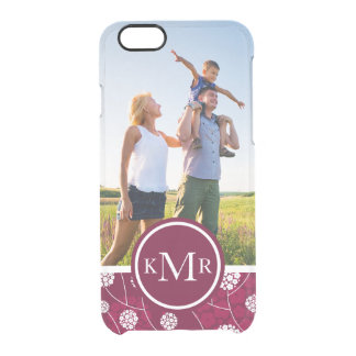 Custom Photo & Monogram Abstract floral pattern Clear iPhone 6/6S Case
