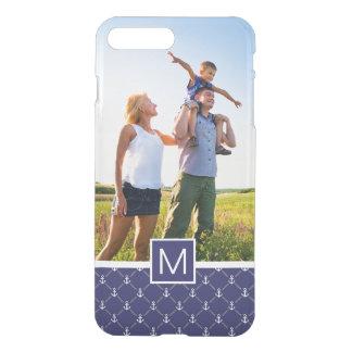 Custom Photo & Monogram Anchor pattern iPhone 8 Plus/7 Plus Case