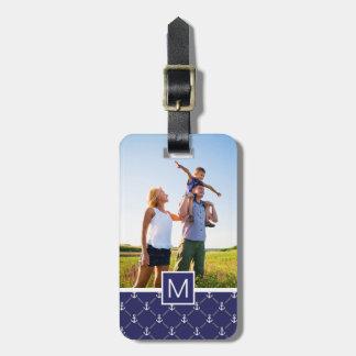 Custom Photo & Monogram Anchor pattern Luggage Tag