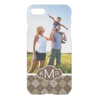 Custom Photo & Monogram Argyle Pattern iPhone 8/7 Case
