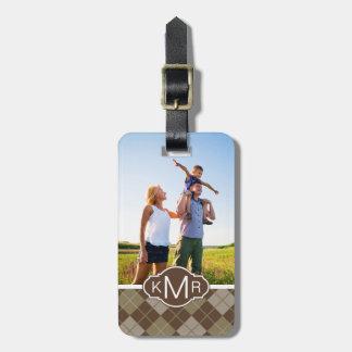 Custom Photo & Monogram Argyle Pattern Luggage Tag