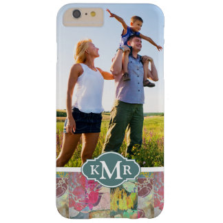 Custom Photo & Monogram Art floral grunge pattern Barely There iPhone 6 Plus Case
