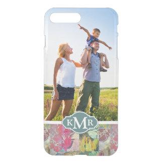 Custom Photo & Monogram Art floral grunge pattern iPhone 8 Plus/7 Plus Case