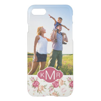Custom Photo & Monogram Beautiful Peony Pattern iPhone 8/7 Case