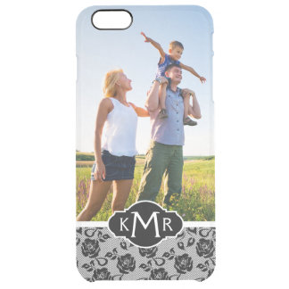 Custom Photo & Monogram Black lace pattern Clear iPhone 6 Plus Case