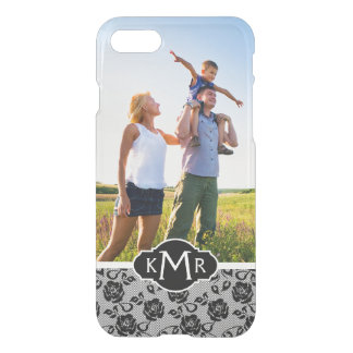 Custom Photo & Monogram Black lace pattern iPhone 8/7 Case