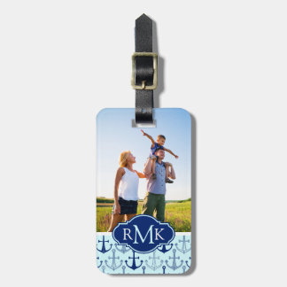 Custom Photo & Monogram Blue Anchor Pattern Luggage Tag