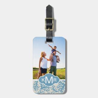 Custom Photo & Monogram Blue Coral Pattern Luggage Tag