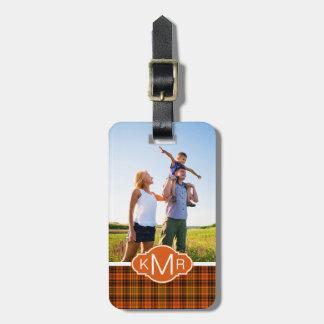 Custom Photo & Monogram Bright Fall Plaid Luggage Tag