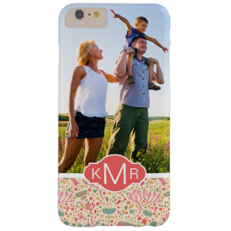 Custom Photo & Monogram Bright floral pattern Barely There iPhone 6 Plus Case