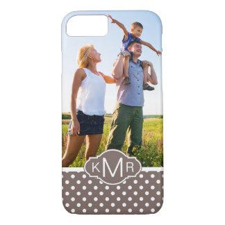 Custom Photo & Monogram Brown Polka Dots iPhone 8/7 Case