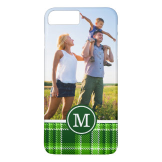 Custom Photo & Monogram Checkered Green Pattern iPhone 8 Plus/7 Plus Case
