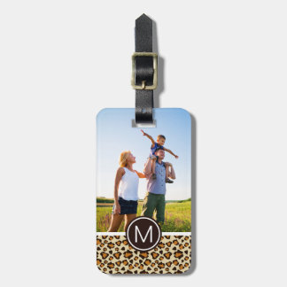 Custom Photo & Monogram Cheetah skin pattern Luggage Tag