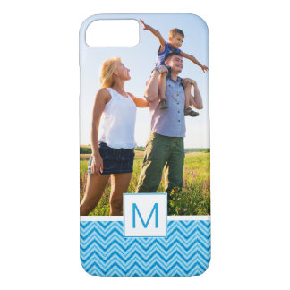 Custom Photo & Monogram Chevron Pattern Background iPhone 8/7 Case