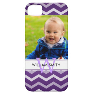 Custom Photo & Monogram Chevron Pattern Purple iPhone 5 Cover