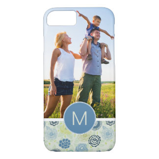 Custom Photo & Monogram Cute Floral Pattern iPhone 8/7 Case