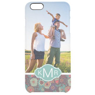 Custom Photo & Monogram Floral Cartoon Pattern Clear iPhone 6 Plus Case