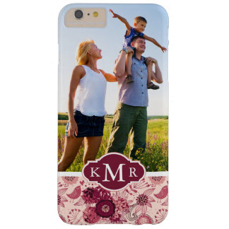 Custom Photo & Monogram Floral pattern with birds Barely There iPhone 6 Plus Case