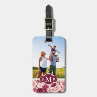 Custom Photo & Monogram Floral pattern with birds Luggage Tag