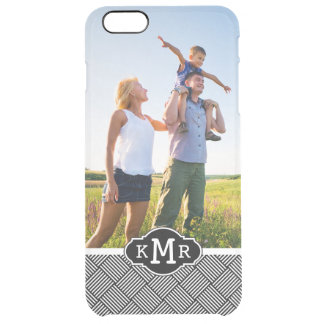 Custom Photo & Monogram Geometric checked texture Clear iPhone 6 Plus Case