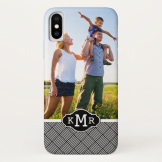 Custom Photo & Monogram Geometric checked texture iPhone X Case